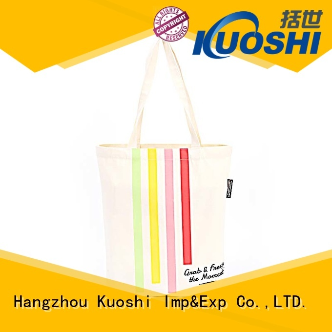 KUOSHI high-quality leather handle canvas tote bag company for daily activities