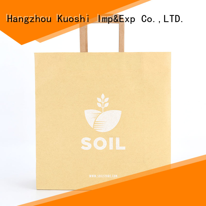 KUOSHI shopping small brown paper gift bags with handles for business for supermarket