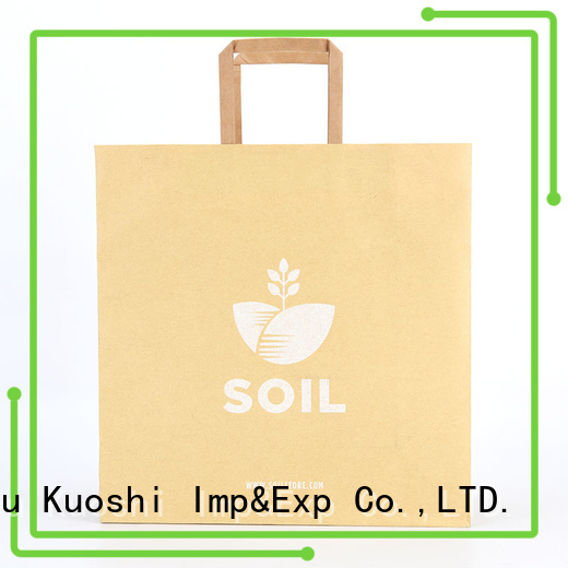 KUOSHI printing medium paper bags with handles for food packaging