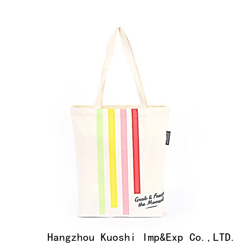 KUOSHI custom big canvas tote bags suppliers for grocery shopping