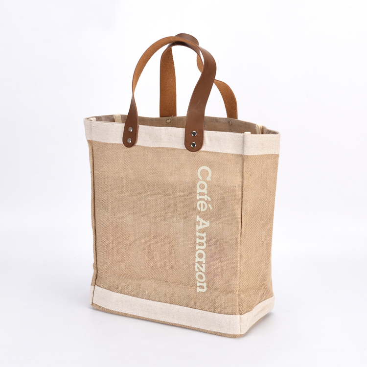 Reusable Heavy Duty Shopping Tote Jute Bag With Leather Handles