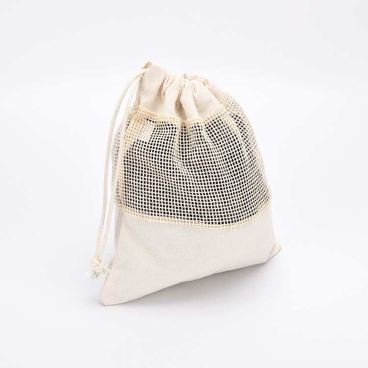 Simple Reusable Cotton Mesh Produce Bag for Vegetable and Fruit