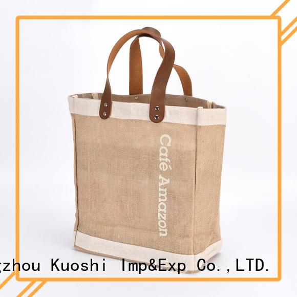 KUOSHI handles jute bottle bags online for shopping mall