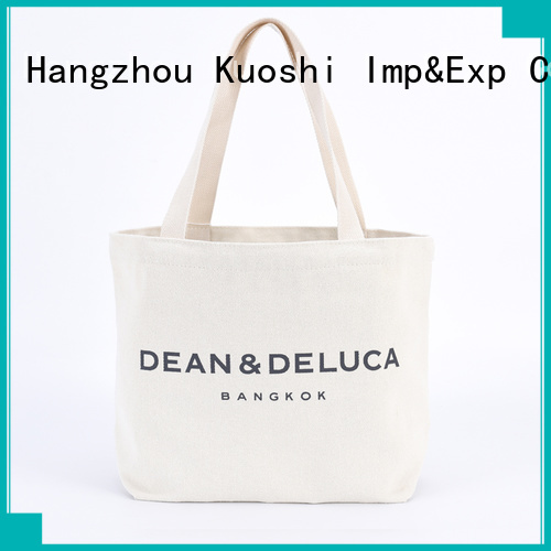 KUOSHI cotton black canvas shopper bag company for office work